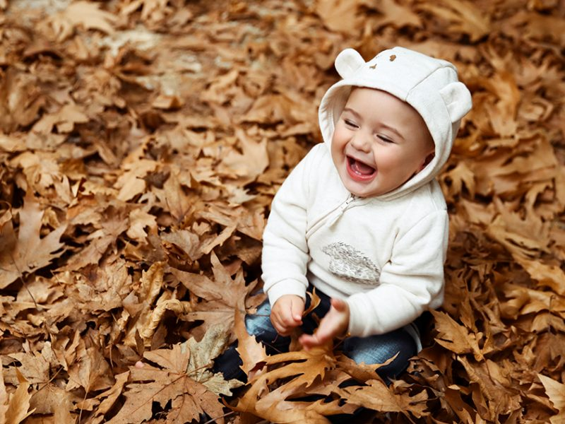 Portrait of a little baby boy laughing, sitting on the ground covered with dry tree leaves in the forest, enjoying autumn nature